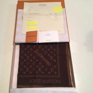 Supreme x Louis Vuitton LV Bandana Scarf Monogram Brown Limited New