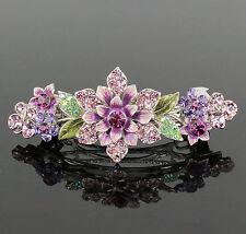 Flower Enamel W/ Hand-Painted Purple Austrian Rhinestone Hair Barrette Clip B116