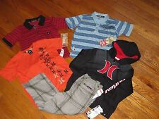 NWT HURLEY & QUIKSILVER 4/4T SURF LOGO JACKET, PANTS  & SHIRTS OUTFIT SETS $154