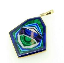 Large 14k Gold Kaufmann Intarsia Pendant Enhancer Opal Lapis Inlay (#J4375)