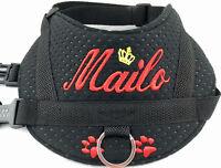 Hundegeschirr S M L mit Namen Brustgeschirr Hunde Halsband Softgeschirr schwarz