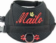 Hundegeschirr mit Wunsch Namen Brustgeschirr Hunde Halsband Softgeschirr schwarz