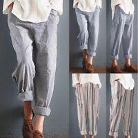 Women Ladies High Waist Striped Baggy Casual Long Harem Pants Trousers Plus Size