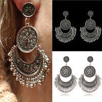 Women Boho Ethnic Tassel Coin Drop Dangle Vintage silver Earrings Jewelry gift