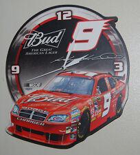 NASCAR RACING KASEY KAHNE # 9 BUDWEISER TEAM Quartz WALL CLOCK  BUD BEER CAR