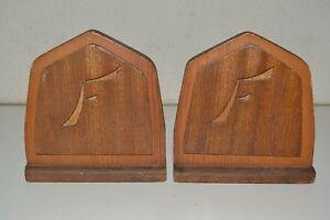 Vintage Handmade Wooden 1960s Monogram Letter F Bookends Set Rare