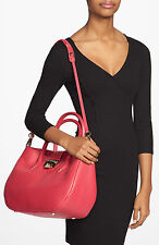 New $1,550 Jimmy Choo RANIA Pebbled Cherry RED PINK Leather Satchel Shoulder Bag