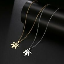 Unisex Elegant Maple Leaf Bolt Yellow Gold Silver Stainless Steel Chain Necklace