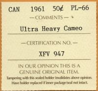 * ICCS PL-66 PL66 1961 Canada Silver Proof Like 50 Cents ULTRA Heavy Cameo UHC *