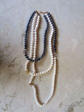 Black and White Fresh Water Pearl Necklace 14K codeNx29 sep