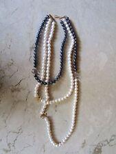 Black and White Fresh Water Pearl Necklace 14K codeNx29 sepvergara