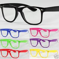 Mens Womens Square Clear UV400 Lens Glasses Vintage Geek Prescription Frames