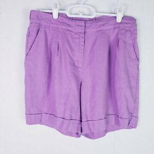 Boden Purple 100% Linen Shorts Size 4