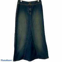 New York & Co Long Denim Jean Skirt Sz 2 No Slit Modest Church Teacher NY Jeans
