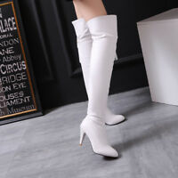 Women's High Heel Zip Pointed Toe Thigh High Over Knee Boots Shoes US Size 3-12