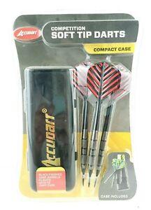 Accudart Competition Soft Tip 3 Darts Compact Case Black Finish USA Seller