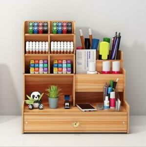 Office Wooden Organizer Desk  Storage Container Pen Pencil Holder DIY GIFT