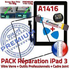 PACK Vitre Tactile iPad3 A1416 Noir Écran Verre Assemblé KIT Outils Joint Cadre