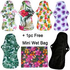 5PC Reusable Bamboo Charcoal Heavy Flow Menstrual Sanitary Cloth Pad +1 Wet Bag