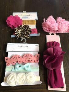 Baby girl headbands Hair Bow lot 7 Pc Pink, Leopard, butterflys, teal, cream NEW
