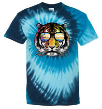 Men's Summer Tiger Blue Tie Dye T Shirt Funny Humor Rave Party Animal Surfing