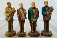 4 Vintage Syroco Wood Characters '40s, '50s Band Members Musicians 5-1/4""