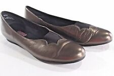MUNRO AMERICAN 12 BROWN Bronze Metallic LEATHER SHOES Ballet Flats Made in USA