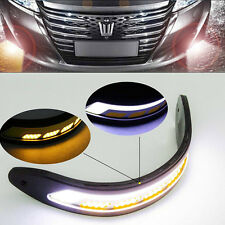 2Pc Flexible COB LED DRL Daytime Running Lights & Yellow Turn Signals Waterproof