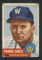 1953 Topps #164 Frank Shea VG/VGEX Senators DP 87925