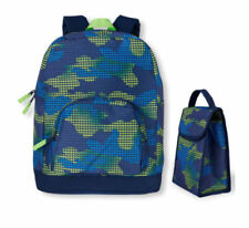 The Children's Place Boys Blue Green Pixelated Camo Backpack & Lunch Box Set NWT