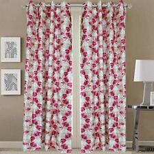 New 2 Pieces Fancy Design Pink Floral Leaf Polyester Eyelet Window Curtains 5 ft
