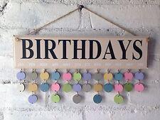 Wooden Beige Birthdays Board, Organiser, Sign. Gift For Friend. Mum Nanny