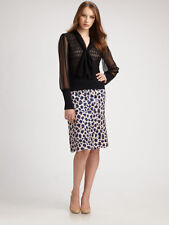 Tori Burch Meri silk bamboo tiered scallop blue leopard edge skirt NWT 4 $425.00