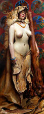 Omphale, Female Nude painting BYAM SHAW reproduction ART CANVAS PRINT