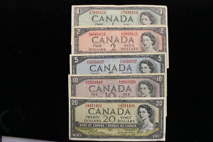 1954 Canada. Banknote set. $1, $2, $5, $10, $20. (#3)