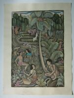 Vintage Indonesian Bali Watercolor & Ink Batuan Art, In a rice field, Unsigned