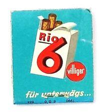 Original Vintage Matchbook RIO 6 VILLIGER SWISS CIGARS  (A1)