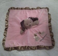 Carters Pink Brown Mommy Loves Me Puppy Dog Security Blanket Plush Lovey Rattle