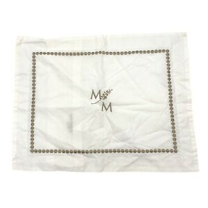 """Pottery Barn Pearl Embroidered 12 x 16 in Pillow Cover/Sham Beige/Tan Mono """"M"""""""