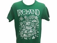Map Of Ireland Landmark Icons Compass Vintage Gift Men's T shirt S-XL
