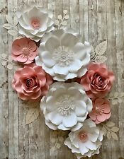 Paper Flowers set with leaves, Backdrop, Wedding, Nursery, Pink & white