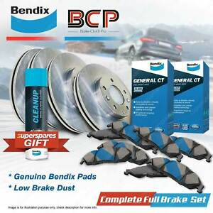 F+R Brake Rotors Bendix Brake Pads for Holden Commodore VT VU VX Crewman VZ VY