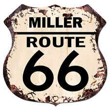 BPHR0006 MILLER ROUTE 66 Shield Rustic Chic Sign  MAN CAVE Funny Decor Gift