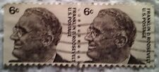 1966 U. S. Scott 1284 Franklin D. Roosevelt two used cancelled 6 cent stamps off