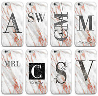 Personalised Name Initials Marble Glitter iPhone 6 6s 7 8 X Phone Case Cover #38