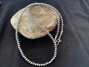 "Girls Native Am Navajo Pearls 4mm Sterling Silver Bead Necklace 14"" Gift 1096"
