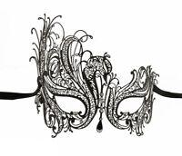 Maschera Di Venezia Di Lusso Veneziano Pizzo Di Metallo Nero e Strass 243 CA7