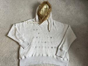 Grey Superdry Hoodie - Fleece Lined Furry Hood - Size XL