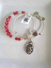 ALEX AND ANI Rouge Pegasus Beaded Bangle silver Bracelet Set of Two- NWT