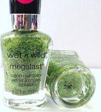 Wet N Wild Megalast Salon Nail Polish # D284D Field of Greens Green Glitters NEW